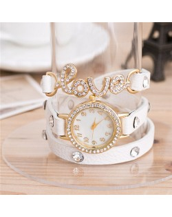 Rhinestone Inlaid Love Theme Triple Layers Leather Fashion Watch - White