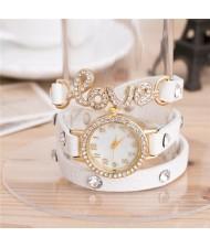 Rhinestone Inlaid Love Theme Triple Layers Leather Fashion Watch - White