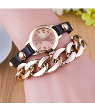 Studs Decorated Leather and Golden Chain Combo Fashion Wrist Watch - Black