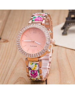 Rhinestone Rimmed with Floral Pattern Porcelain Texture Wristband Fashion Watch - Style 2