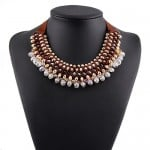 Multi-layer Beads Ribbon Fashion Necklace - Brown