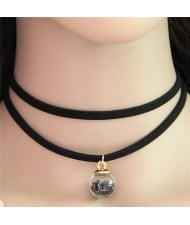 Wish Crystal Beads Inside Glass Ball Pendant Two Layers Costume Fashion Necklace - Black