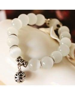 Delicate Folk Style Silver Alloy Ball Pendant Opal Beads Bracelet