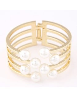 Elegant Pearls Decorated Hollow Alloy Fashion Bangle - Golden