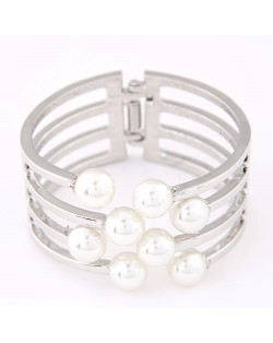 Elegant Pearls Decorated Hollow Alloy Fashion Bangle - Silver