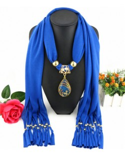 Hollow Phoenix Gem Pendant with Tassel Design Fashion Scarf Necklace - Blue