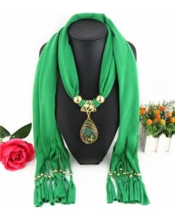 Hollow Phoenix Gem Pendant with Tassel Design Fashion Scarf Necklace - Green