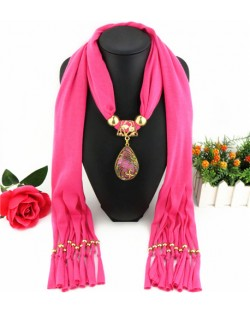 Hollow Phoenix Gem Pendant with Tassel Design Fashion Scarf Necklace - Rose