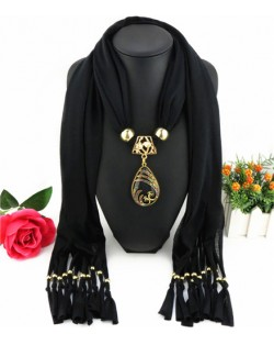Hollow Phoenix Gem Pendant with Tassel Design Fashion Scarf Necklace - Black