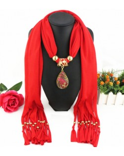 Hollow Phoenix Gem Pendant with Tassel Design Fashion Scarf Necklace - Red