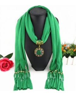 Gem Inlaid Sun Shape Design Pendant Tassel Fashion Scarf Necklace - Green