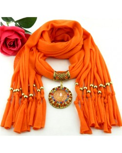 Gem Inlaid Sun Shape Design Pendant Tassel Fashion Scarf Necklace - Orange