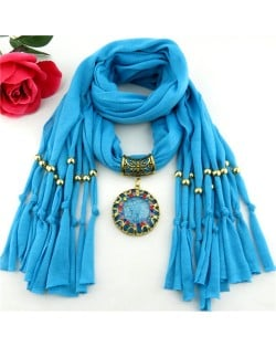 Gem Inlaid Sun Shape Design Pendant Tassel Fashion Scarf Necklace - Sky Blue
