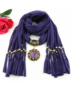 Gem Inlaid Sun Shape Design Pendant Tassel Fashion Scarf Necklace - Purple