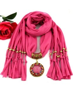 Gem Inlaid Sun Shape Design Pendant Tassel Fashion Scarf Necklace - Rose