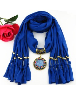 Gem Inlaid Sun Shape Design Pendant Tassel Fashion Scarf Necklace - Blue