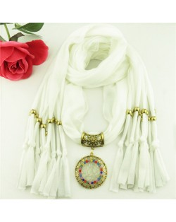 Gem Inlaid Sun Shape Design Pendant Tassel Fashion Scarf Necklace - White
