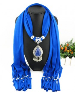 Ethnic Style Waterdrop Pendant Tassel Fashion Scarf Necklace - Royal Blue