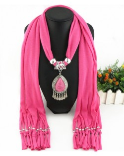 Ethnic Style Waterdrop Pendant Tassel Fashion Scarf Necklace - Pink