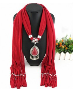 Ethnic Style Waterdrop Pendant Tassel Fashion Scarf Necklace - Dark Red