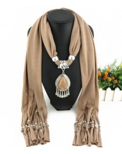 Ethnic Style Waterdrop Pendant Tassel Fashion Scarf Necklace - Brown