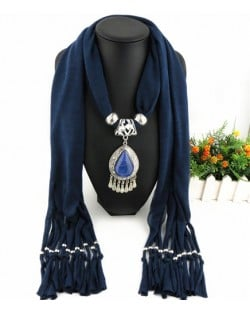 Ethnic Style Waterdrop Pendant Tassel Fashion Scarf Necklace - Ink Blue