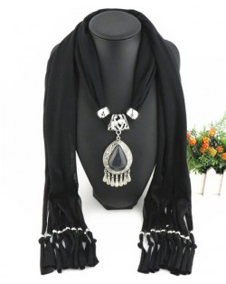Ethnic Style Waterdrop Pendant Tassel Fashion Scarf Necklace - Black