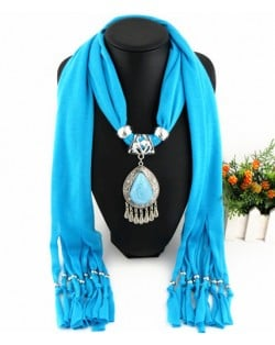 Ethnic Style Waterdrop Pendant Tassel Fashion Scarf Necklace - Sky Blue
