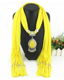 Ethnic Style Waterdrop Pendant Tassel Fashion Scarf Necklace - Yellow