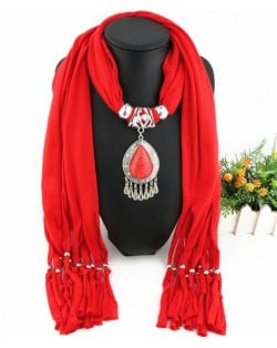 Ethnic Style Waterdrop Pendant Tassel Fashion Scarf Necklace - Red