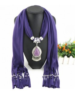 Ethnic Style Waterdrop Pendant Tassel Fashion Scarf Necklace - Purple