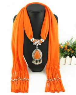 Ethnic Style Waterdrop Pendant Tassel Fashion Scarf Necklace - Orange