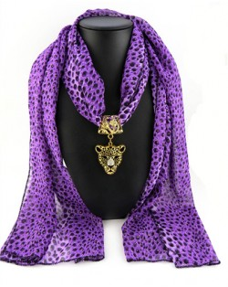 Wild Leopard Head Pendant Leopard Prints Fashion Scarf Necklace - Purple