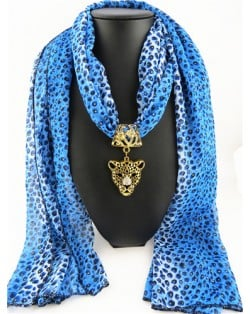 Wild Leopard Head Pendant Leopard Prints Fashion Scarf Necklace - Blue