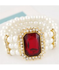 Oblong Ruby Gem Inlaid with Triple Layers Pearl Fashion Elastic Bracelet