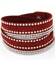 Rhinestone and Alloy Studs Embellished Multi-layer Leather Fashion Bracelet - Red