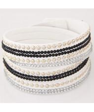 Rhinestone and Alloy Studs Embellished Multi-layer Leather Fashion Bracelet - White