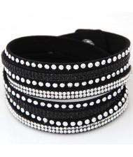 Rhinestone and Alloy Studs Embellished Multi-layer Leather Fashion Bracelet - Black