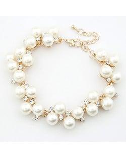 Fine Artistic Genre Rhinestones and Ornamental Pearls Bracelet