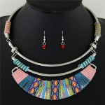 Rope Weaving Bohemian Fashion Arch Pendant Statement Necklaces and Earrings Set - Multicolor