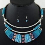 Rope Weaving Bohemian Fashion Arch Pendant Statement Necklaces and Earrings Set - Teal