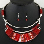 Rope Weaving Bohemian Fashion Arch Pendant Statement Necklaces and Earrings Set - Red