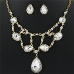 Luxurious Glass Gems Waterdrops Theme Fashion Design Alloy Necklace and Earrings Set - White