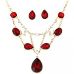 Luxurious Glass Gems Waterdrops Theme Fashion Design Alloy Necklace and Earrings Set - Red
