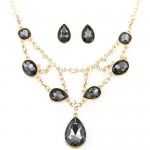 Luxurious Glass Gems Waterdrops Theme Fashion Design Alloy Necklace and Earrings Set - Black