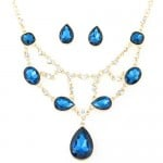 Luxurious Glass Gems Waterdrops Theme Fashion Design Alloy Necklace and Earrings Set - Ink Blue