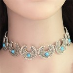 Artificial Turquoise Inlaid Ethnic Style Crescent Moons Fashion Necklet
