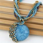 Rhinestone Embellished Peacock on the Moon Pendant Statement Fashion Necklace - Blue