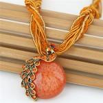 Rhinestone Embellished Peacock on the Moon Pendant Statement Fashion Necklace - Orange