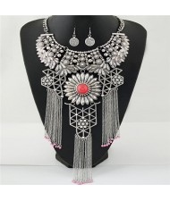 Hollow Pattern Chrysanthemum Theme with Tassel Chains Costume Necklace and Earrings Set - Silver